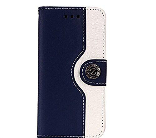 iPhone5s / iPhone5 専用 レザー 風 手帳型 ケース カード入れ 付き ストラップホール付 横開きスタンド スマホ カバー二つ折り (iPhone5/5S, ダークブルー)