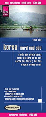 Corea del Nortey Corea del Sur, mapa de carreteras impermeable. Escala 1:1.700.000. Reise-Know-How.