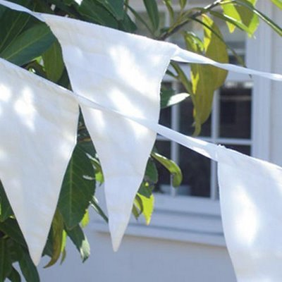 50 Meters White Fabric Wedding Bunting Flags (5 x 10m Lengths) By WeddingDirect