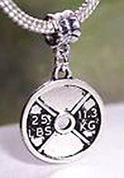 Pugs & Pandoras Barbell Weight Lifting 25 LBS Gym Workout Dangle Bead for Euro Charm Bracelets PP21384