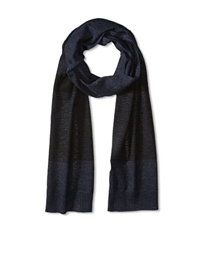 Cullen Men's Stripe Blocked Merino Knit Scarf, Night Marl/Black