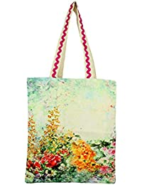 "Digital Garden Print Tote Bag - 100% Cotton Canvas - 16"" X 14"" - Made In India"