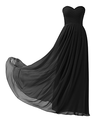 Remedios A-Line Chiffon Bridesmaid Dress Strapless Long Prom Evening Gown,Black,US6