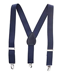 Buyless Fashion Kids Baby Adjustable Elastic Solid 1 inch Suspenders - Navy - Size 22 Inch