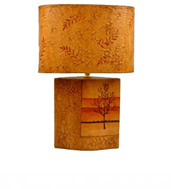 Table Lamp-Ceramic Made-hand decorated with beautiful painted autumn tree and leaves-Brand New