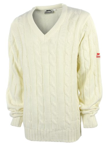 Slazenger Mens Cream Long Sleeve Cricket Jumper L -508033