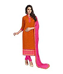 Rudra Textile Women's Orange Cotton Churidar Suit