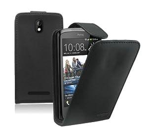 Membrane - Black Leather Vertical Case for HTC Desire 500 - Flip Phone Cover + 2 Screen Protectors