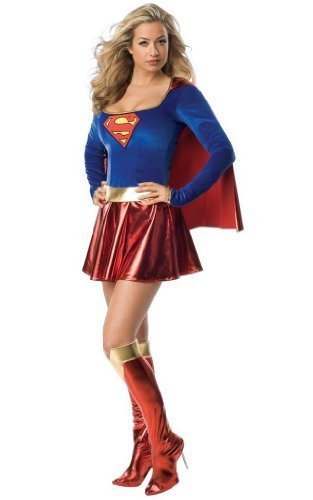 Burlesque Box-Sexy Supergirl / Superwoman Superhero Womans Fancy Dress Costume - Hen Party Outfit -Size 8 by Burlesque Box