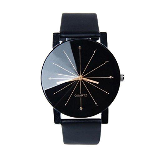 FEITONG uomini quarzo quadrante orologio in pelle orologio da polso rotondo Custodia nero (Nero)