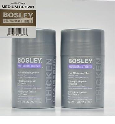 Bosley Hair Thickening Fibers Keratin Hair Fibers .42 oz (Medium Brown) 2 Pack