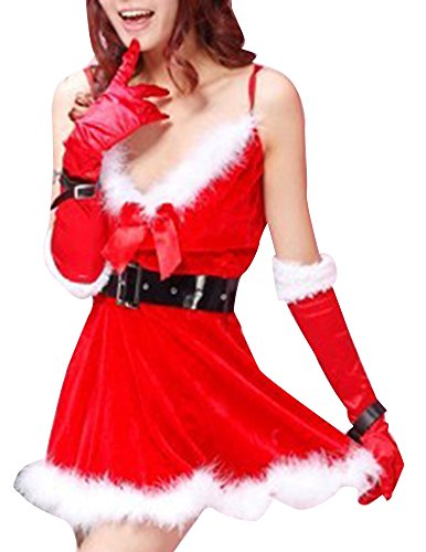 Meilya Women's Sweety Strappy Christmas Dancing Party Cutie Suit Costume Red
