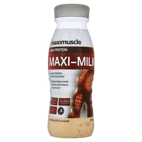 Maximuscle Maxi-Milk 330 ml Chocolate Ready-to-Drink Muscle and Recovery Shake - 8 x Bottles