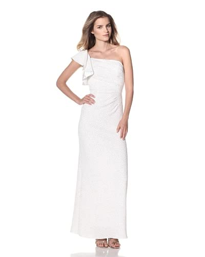 Hailey Women's One-Shoulder Gown  - Ivory/Gold