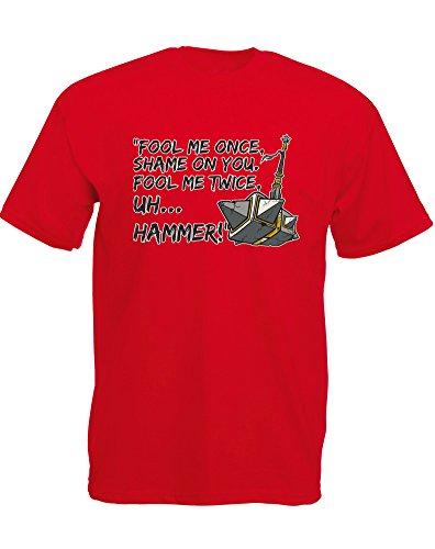 fool-me-once-mann-gedruckt-t-shirt-rote-schwarz-transfer-l-104-109-cm