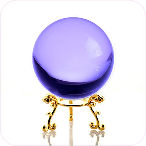 Amlong Crystal Purple Crystal Ball 60mm (2.3 in.) Including Golden Flower Stand and Gift Package