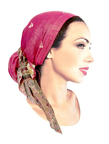 [Boho Chic Pre-tied Headwear Versatile Ties Cool Airy Pashima Ethnic Print Collection (Fuchsia long -] (Ethnic Hats)