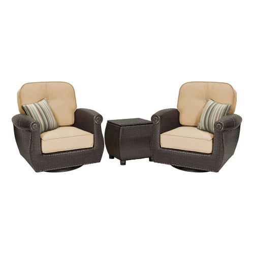 Breckenridge 3 Piece Patio Furniture Set: 2 Swivel Rockers (Natural Tan) and Side Table by La-Z-Boy Outdoor image