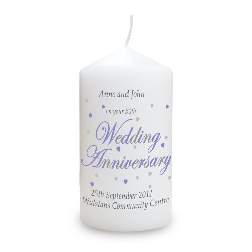 Anniversary Candle. This is a great product that can be personalised to your requirements ( please see main discription for full details ) Ideal gifts and presents for weddings, Christenings, Birthdays, Christmas etc...