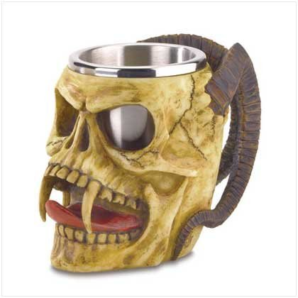 Gothic Skull Tankard Horns Mug Steel Cup Fangs Goblet