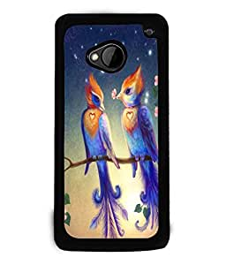 Fuson Love Couple Birds Back Case Cover for HTC ONE M7 - D3924