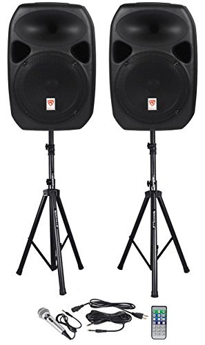 rockville-rpg122k-dual-12-inch-powered-speakers-with-stands-and-microphone-black