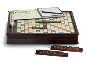 Scrabble Premium Deluxe Wood Edition with Storage Cabinet by Winning Solutions
