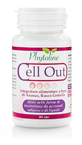 CELL OUT - Integratore a base di Ananas, Rusco e Centella asiatica utili nel trattamento di inestetismi cutanei da accumuli adiposi ed eccesso di liquidi, 60 compresse