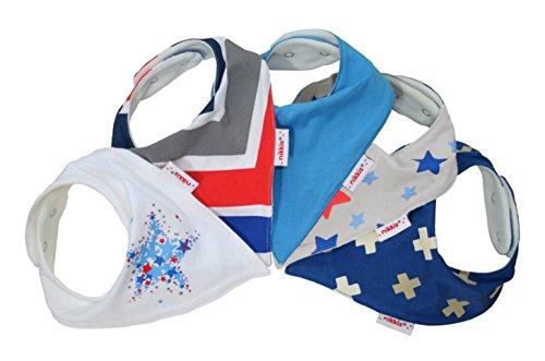 Babystar - Packung mit 5 nikkis® Baby Sabber Lätzchen - 100% saugfähige und weiche Jersey Baumwolle Halstücher (Premiumqualität) - Auch als Geschenk geeignet (trendy & cool)