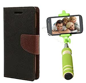 Aart Fancy Diary Card Wallet Flip Case Back Cover For Samsung 8552 - (Blackbrown) + Mini Aux Wired Fashionable Selfie Stick Compatible for all Mobiles Phones By Aart Store