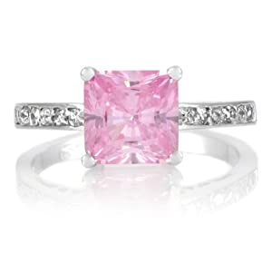 Trista's Promise Ring - Pink Princess Cut CZ from Emitations