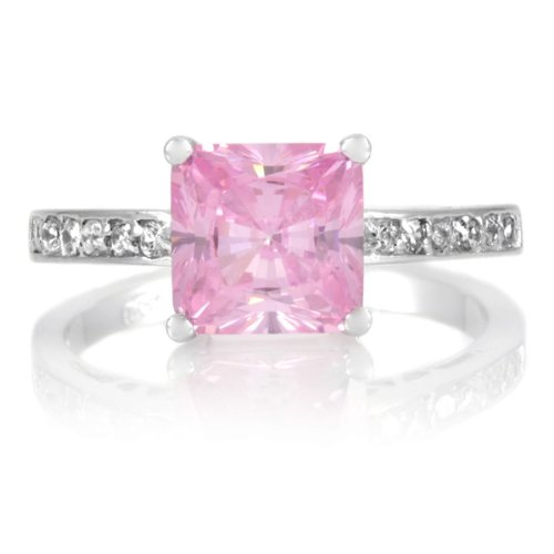 Trista's Promise Ring - Pink Princess Cut CZ .925 sterling silver jewelry, Rhodium electroplated Size 12