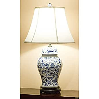 blue and white porcelain ginger jar lamp w silk shade. Black Bedroom Furniture Sets. Home Design Ideas