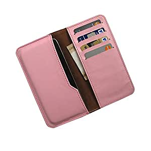 i-KitPit : PU Leather Wallet Flip Pouch Case For Huawei Ascend W2 (LIGHT PINK)