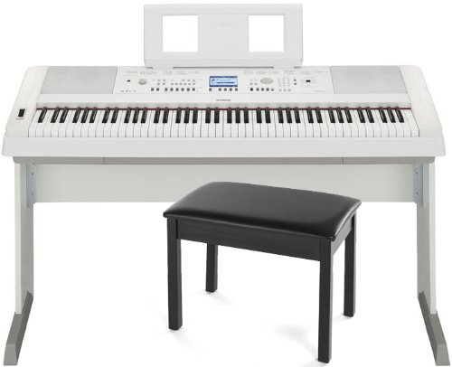 Yamaha Dgx-650Wh 88 Weighted-Key Digital Piano W/ Stand And Bench