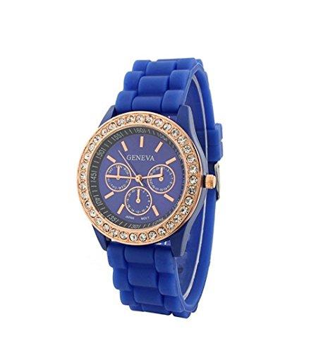 U-Beauty Navy Blue Fashion New Rose Gold Diamond Quartz Silicone Jelly Watch For Women Wedding Gift
