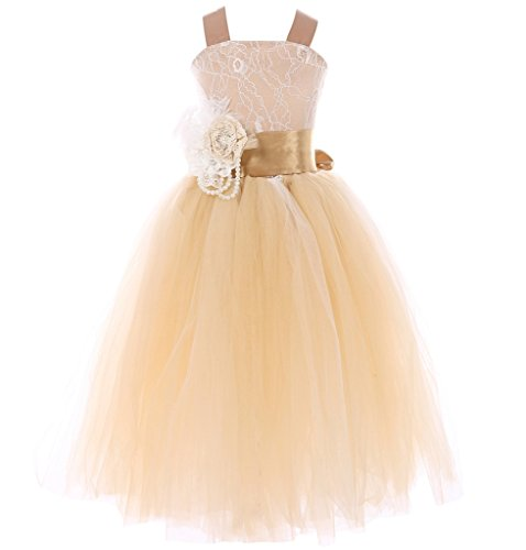 FAYBOX Pageant Wedding Flower Girl Dress Crossed Back Bow Feather Sash Fluffy 8