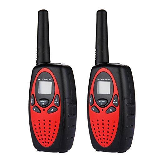 Floureon 8 Canaux Paire de talkies walkies UHF400-470MHZ 2-Way Radio 3KM gamme interphone rouge et noir