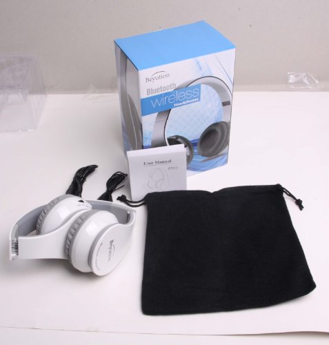 New Beyution@Bt512 White Bluetooth V3.0 Headphones With Fm Radio/ Micro Sd Card Read/ Blutooth Headphones For Apple Iphone 5S/5/5C/4S; Ipad 2/1/Mini/Air; Ipod, Samsung S5/S4/S3/S2 Note2/ Note 3 Smart Cell Phones And Samsung Galaxy Tab Note Tablet And All