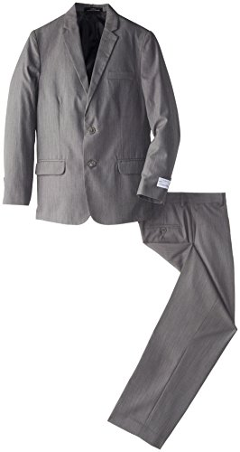 Calvin Klein Big Boys' Hairline Suit, Dark Grey, 16 front-1080003