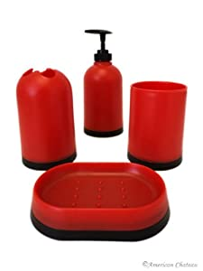 Fire red black plastic kids bathroom for Red and black bathroom accessories sets