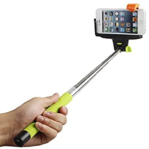 Tontec® Bluetooth Monopod for iPhone with Remote Shutter Button Extendable Self Portraits Selfie Stick for iPhone 5 5S 5C 4S 4 Samsung Galaxy S5 S4 S3 Note 3 2 (Green)