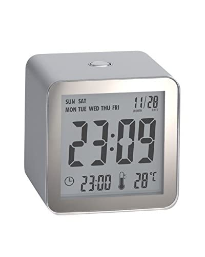 Lexon Cube Clock, Silver