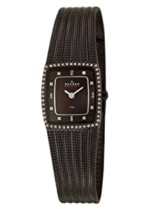 Skagen Dark Brown Glitz Mesh Watch