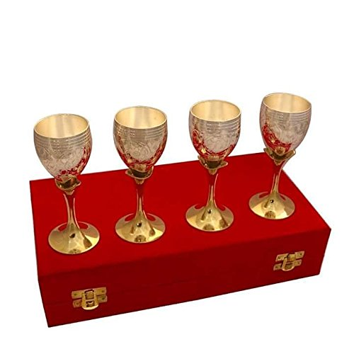 Bismillah Exports Handicrafts Brass Exotic Bold Wine Glass Set Of 4 PCs, Gold Color