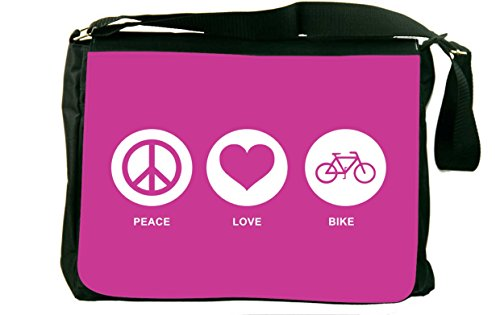 Rikki Knighttm Peace Love Bike Rose Pink Color Messenger Bag - - Shoulder Bag - School Bag For School Or Work - With Matching Coin Purse front-596826