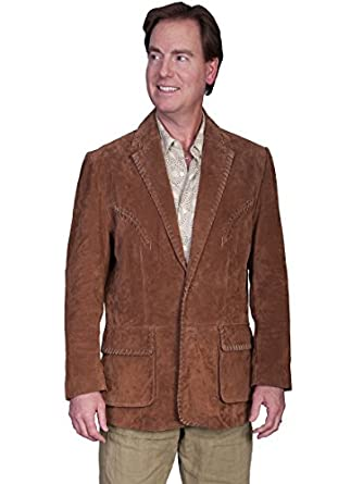 Scully Men's Suede Leather Whipstitch Jacket Brown 38 R