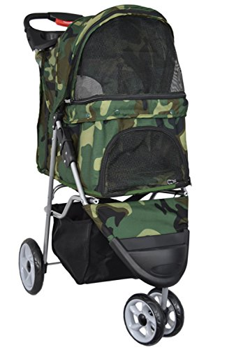 VIVO Three Wheel Pet Stroller, for Cat, Dog and More, Foldable Carrier Strolling Cart, Multiple Colors (Camo)