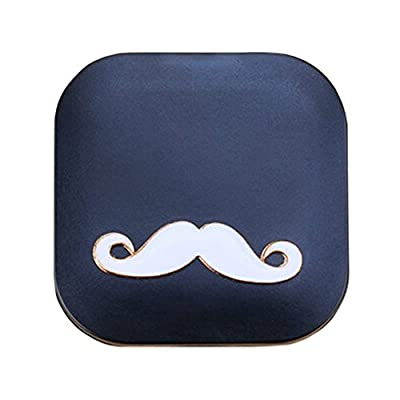 Stylish Contact Lens Case Lenses Holder Box Travel Kit Case Mustache Black