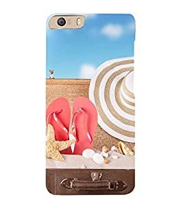iFasho hat and chappal at a boat in Beach Back Case Cover for Micromax Canvas Knight 2 E471